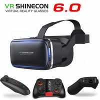 Original VR Shinecon 6,0 Realidad Virtual de realidad Virtual 3D gafas de cartón de casco para 4,0-6,3 pulgadas Smartphone con cont.