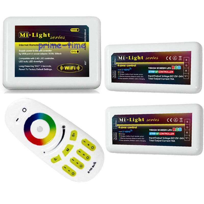 ФОТО 2.4G RF Wireless Touch Screen Remote+Mi.Light WiFi Adaptor +2x 18A 4-Zone RGB LED Group Controller for RGB Led Strip Light