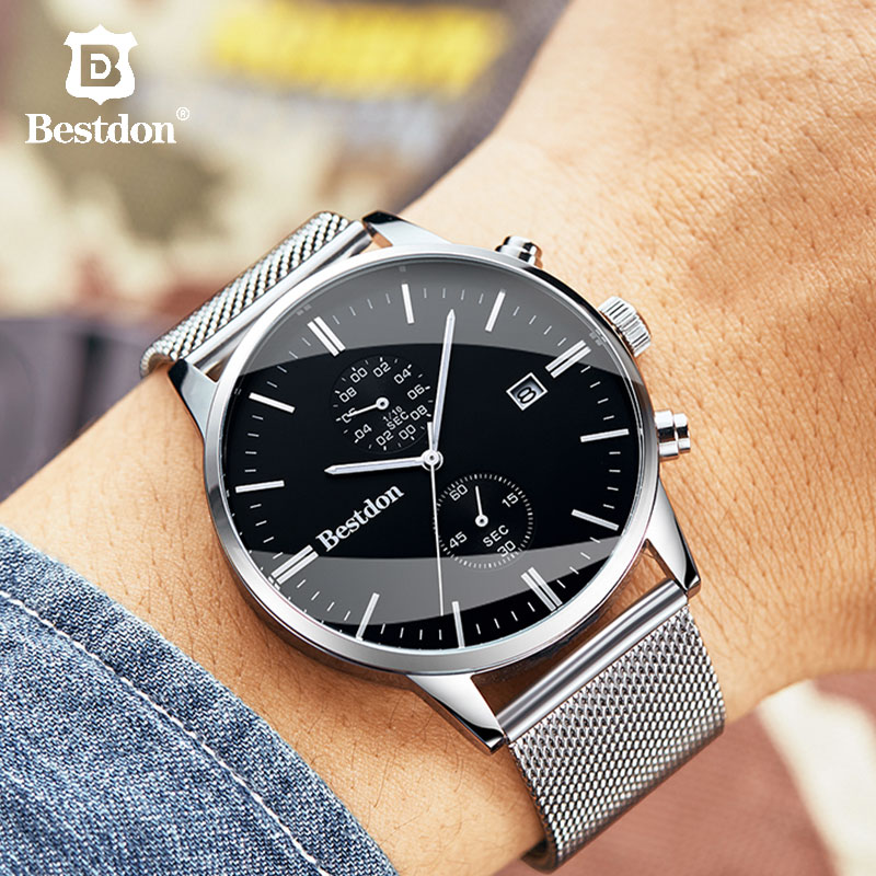 Bestdon Quartz Watches Men Fashion Waterproof 43mm Big Dial Wrist Watch Day Date Black Swiss Brand Tiktok PopSocket Gift For Man