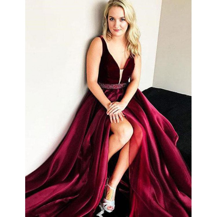 Burgundy 2019   Prom     Dresses   A-line Deep V-neck Velvet Beaded Slit Sexy Party Maxys Long   Prom   Gown Evening   Dresses   Robe De Soiree