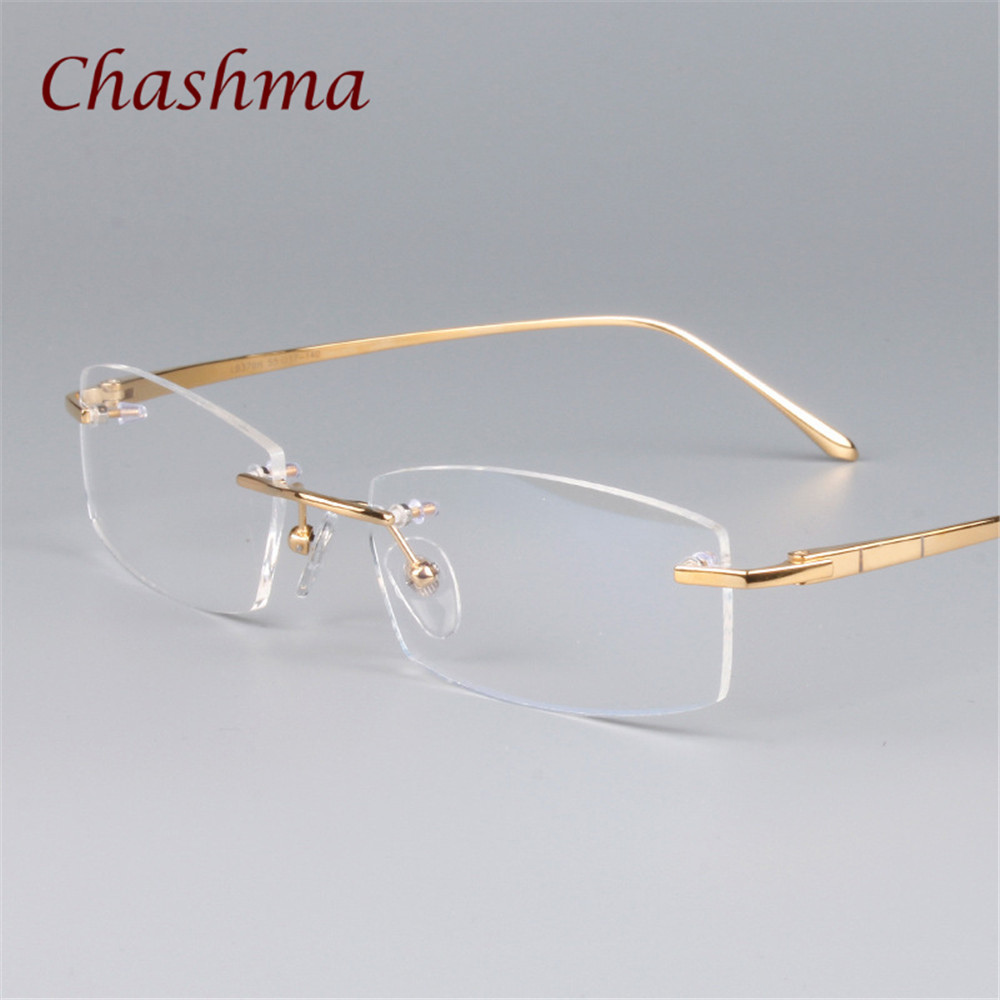 Menn Pure Titanium Reseptbriller Rimless Designer Quality Frame for Women Light Eyewear Frameless