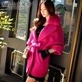 Dabuwawa 2016 novo inverno gola de pele de manga morcego casaco de lã feminino para as mulheres pink doll alta qualidade pink doll