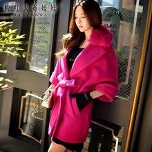 dabuwawa 2016 new winter fur collar bat sleeve wool coat female for women pink doll high quality pink doll