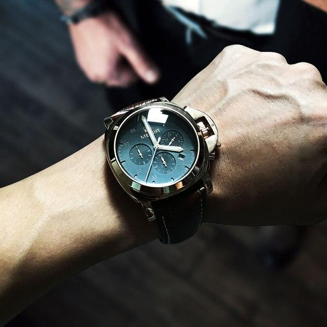 Megir 3006 メンズファッションクォーツ時計防水腕時計革ストラップ時計男送料無料