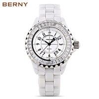 Berny для женщин часы женские кварцевые часы модный топ роскошные брендовые Relogio Saat Montre Horloge Feminino Баян Femme керамика