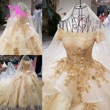 AIJINGYU Elegant Wedding Gowns SheerกลับRoyalเซ็กซี่ออนไลน์Usa Sheer 2021 2020ชุดแต่งงานกับSlit