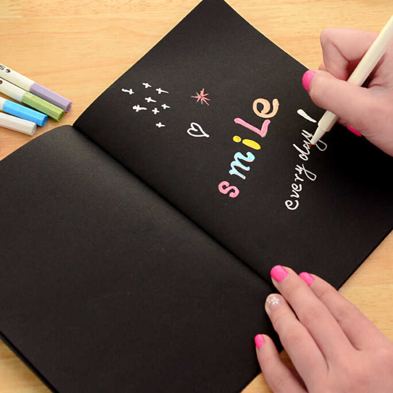 S-L Notebook Diary Black Paper Notepad 16K Sketch Graffiti Notebook Drawing Painting Office School Stationery Gift