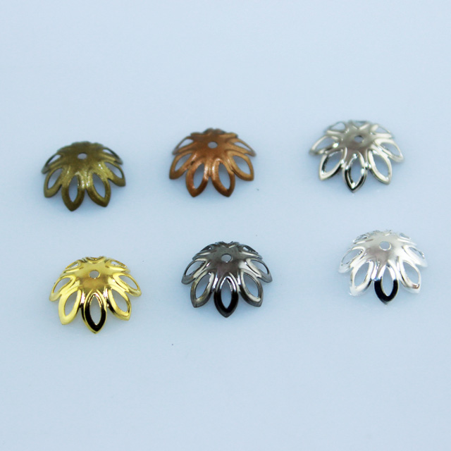 12MM Gold/Silver/Rhodium/Bronze Plated Metal Round Flower Beads Caps Fashion Jewelry DIY Making Finding Accessories