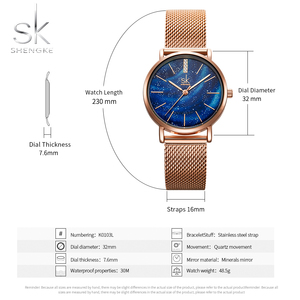Image 3 - Shengke Luxe Vrouwen Horloges Romantische Starry Blue Dial Mesh Roestvrij Stalen Band Ultra Dunne Case Quartz Horloge Reloj Mujer