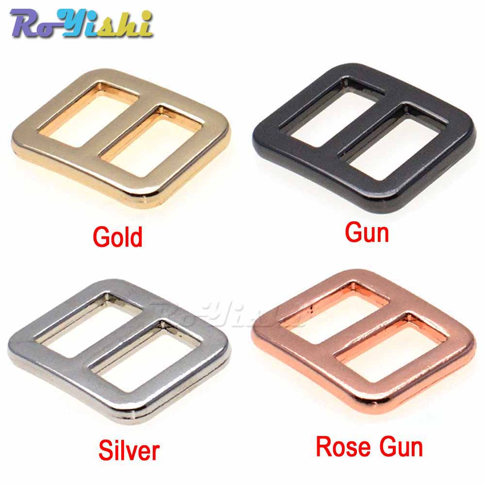 Buckles & Hooks 20pcs/pack 5/8 Metal Mix Colors Curve Tri-glide Slider Adjustable Buckle For Bags Webbing 15mm Products Hot Sale