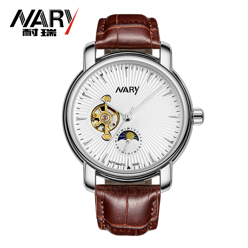 Nary Men's Automatic Self-Wind Mechanical Watch 3ATM Waterproof Sapphire Leather Men Business Wrist watch relogio masculino deluxe ailuo men auto self wind mechanical analog pointer 5atm waterproof rhinestone business watch sapphire crystal wristwatch