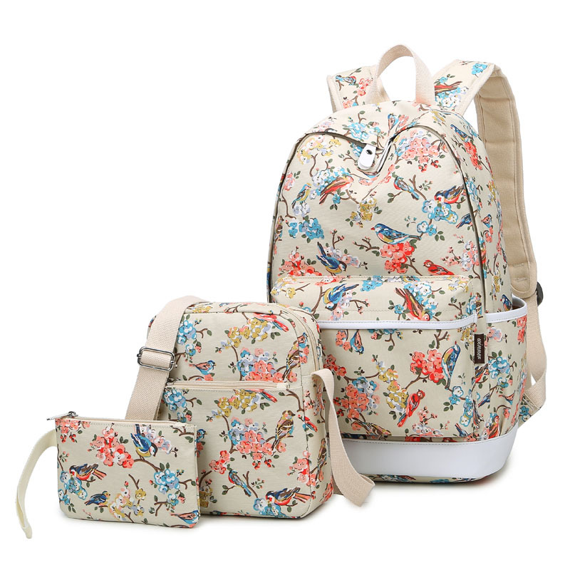 Brand Women Canvas Set Bagpack School Bags for Teenage Girls Travel Bag Laptop Bird and Floral Printing Backpacks Waterproof 13 laptop backpack bag school travel national style waterproof canvas computer backpacks bags unique 13 15 women retro bags