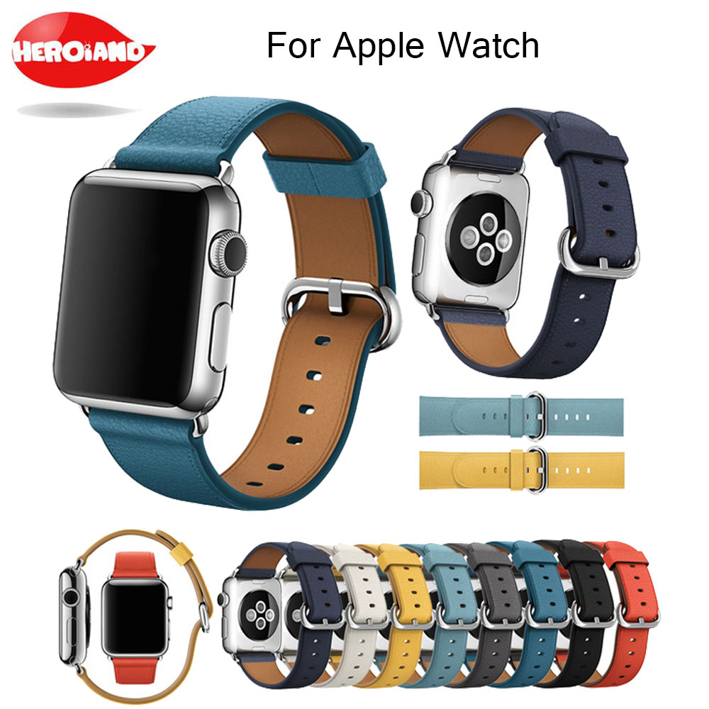Replacement Genuine Leather Band for Apple Watch Series 1 2 3 wrist Strap for iWatch Classic Watchband 42mm 38mm With Adapters