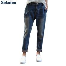Sokotoo Женские винтажные свободные джинсовые штаны-шаровары повседневные ботильоны длина укороченные джинсы