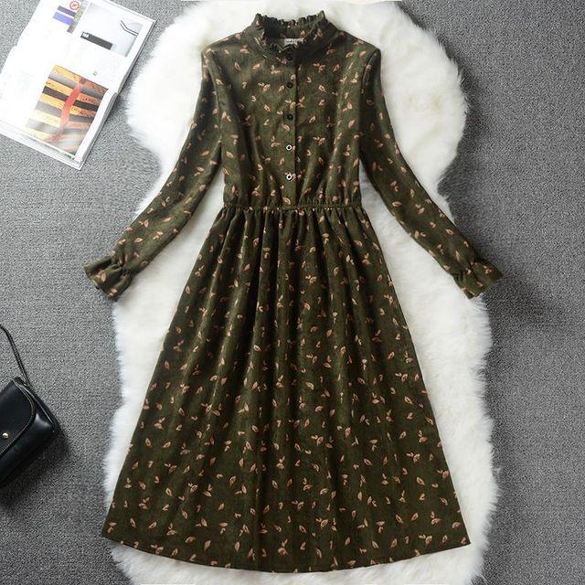 Autumn Winter Women Sweet Corduroy Dress Stand Collar Print Long Sleeve Femininos Vestidos Mori Girl Elegant Loose-Waist Dress 1