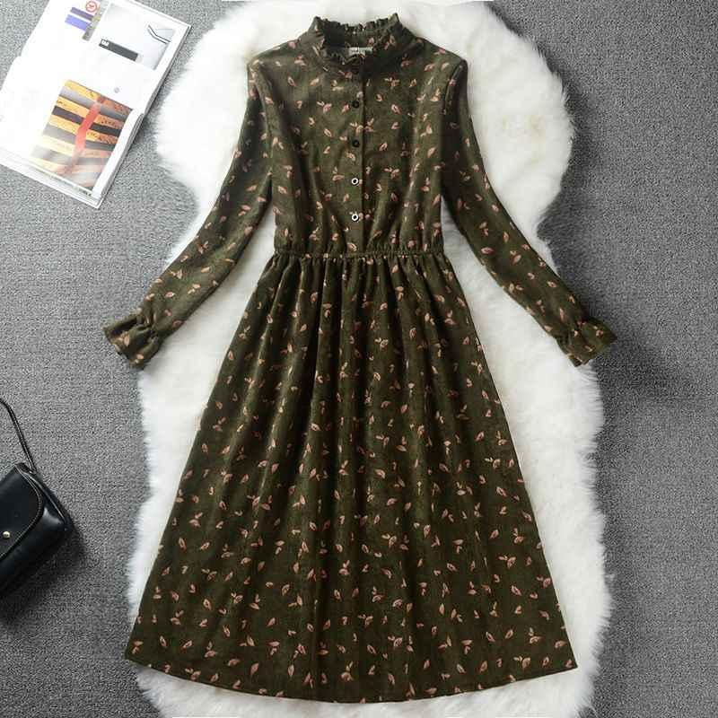 Осенне-зимнее женское милое вельветовое платье со стоячим воротником, с принтом, с длинным рукавом, Femininos Vestidos Mori Girl, элегантное свободное приталенное платье