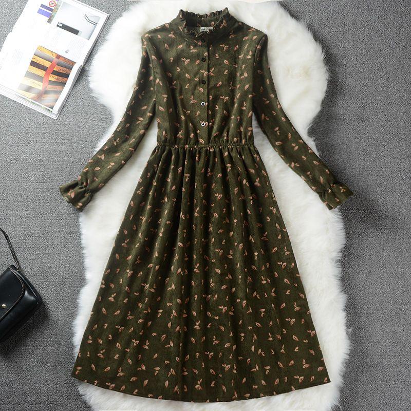 Autumn Winter Women Sweet Corduroy Dress Stand Collar Print Long Sleeve Femininos Vestidos Mori Girl Elegant Loose-Waist Dress