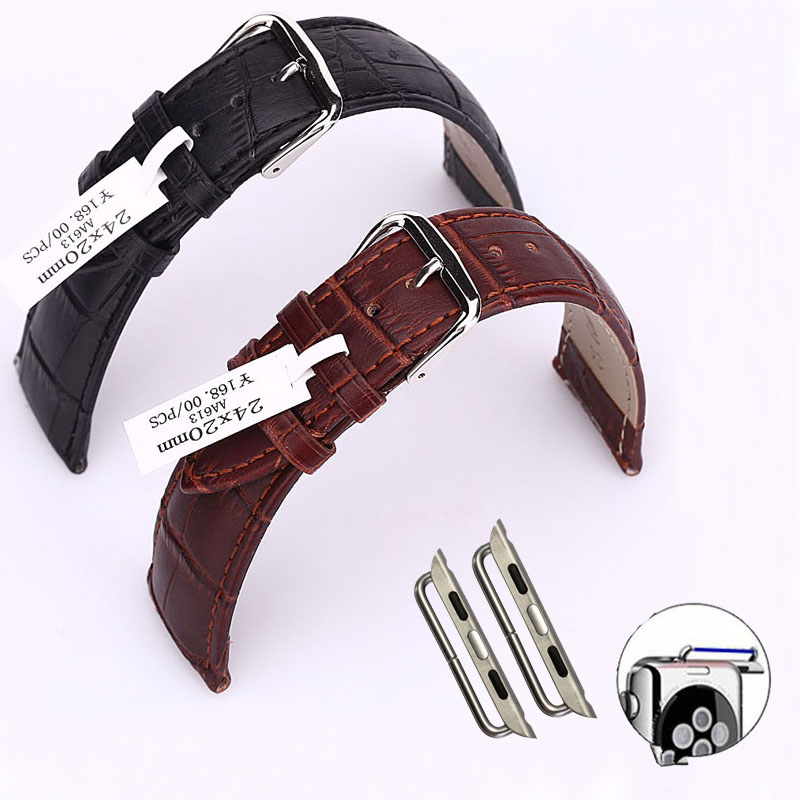 Crocodile Genuine Leather Watch Band For Apple Watch Series 1 2 3 Real Leather Belt Strap For Apple Watch iWatch w Connector цены онлайн