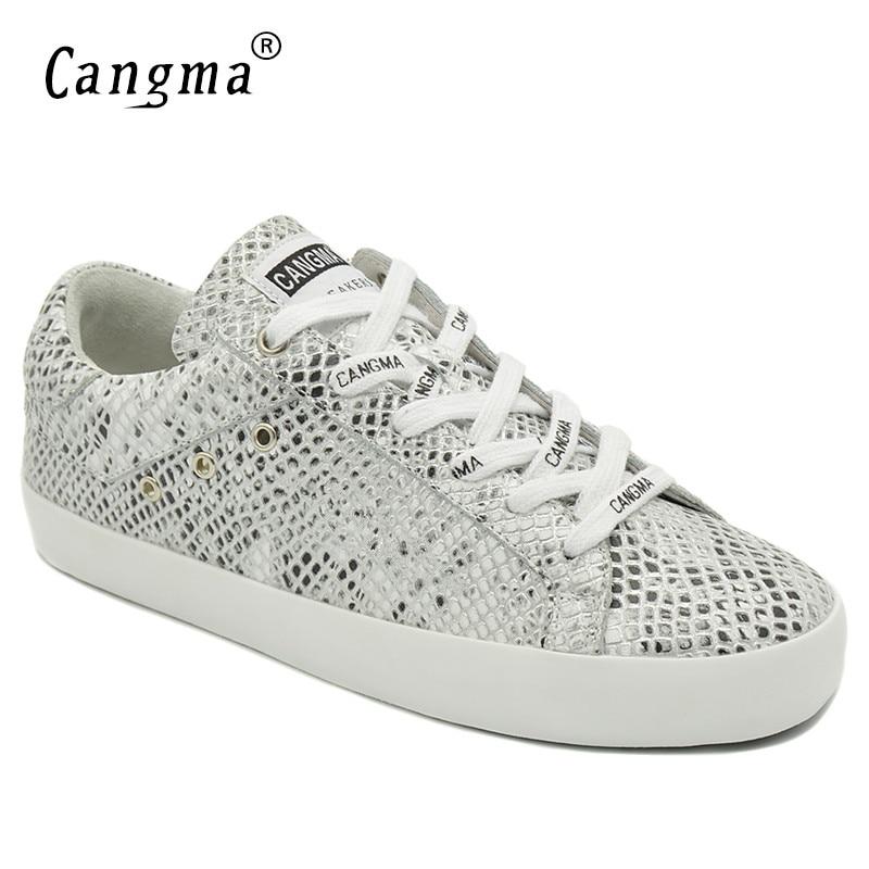 74197e4897f4a CANGMA Italien Marque Femelle Argent Serpent Grain Chaussures En Cuir  Véritable Sneakers Femmes Respirant Adulte Casual