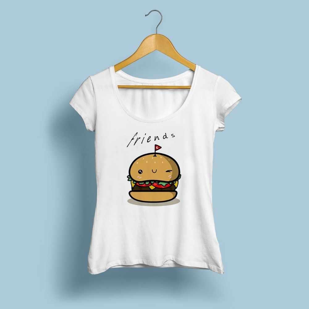 Bff hambúrguer chips cola melhores amigos 3 para sempre t camisa feminina 2018 verão novo branco tshirt femme casual engraçado bonito camiseta