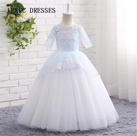 Half Sleeves Flower Dresses Floor Length Robe Pee Fille D Honneur Mariage S Gowns Vestido Nina Boda