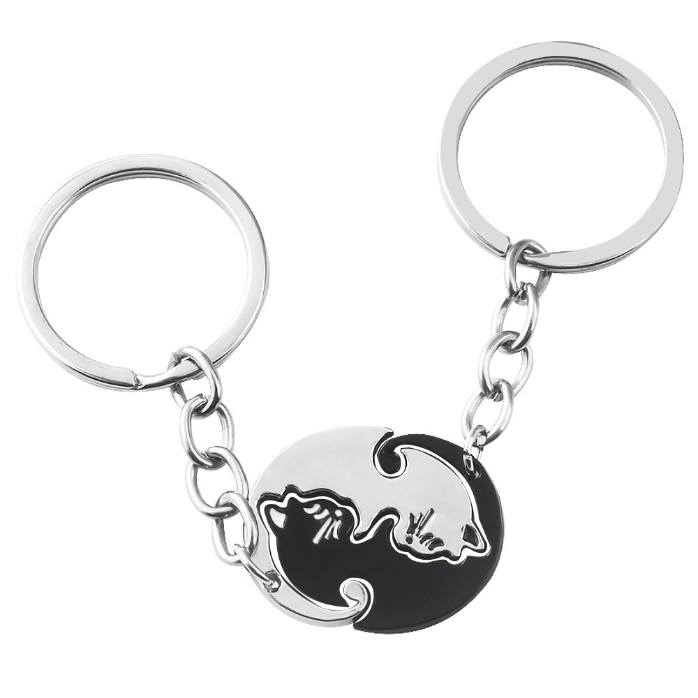 Cute Black White Cat Couple Keychain Animal Cat Pendant Key Chain For Women Men Choker Keyring Valentine's Day Gift