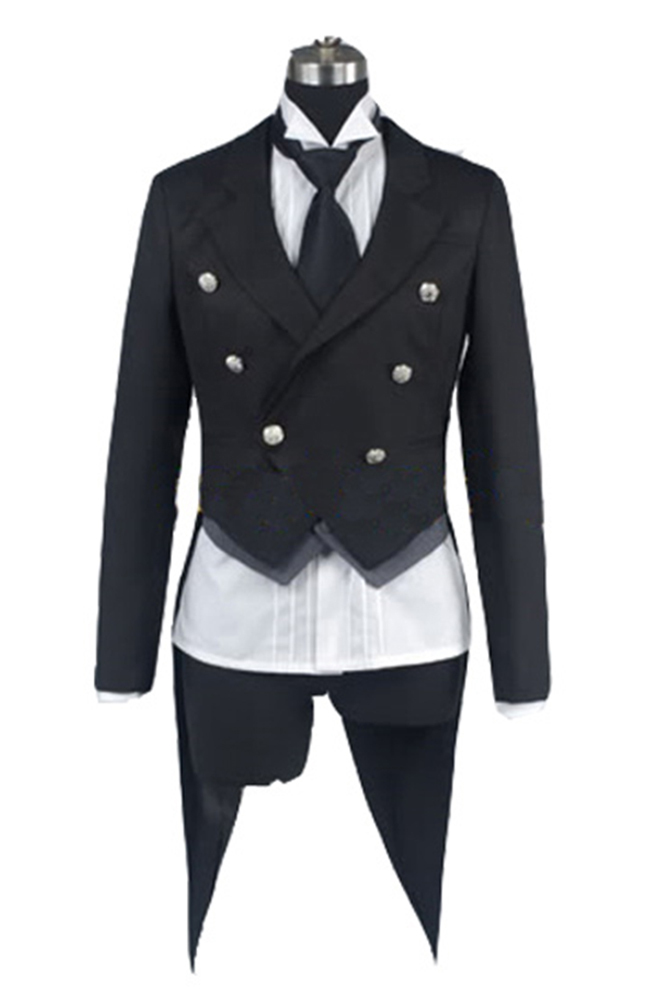 Black Butler Cosplay Costume Kuroshitsuji Sebastian Black Uniform Tuxedo Costume Halloween Cosplay Costume For Men Party