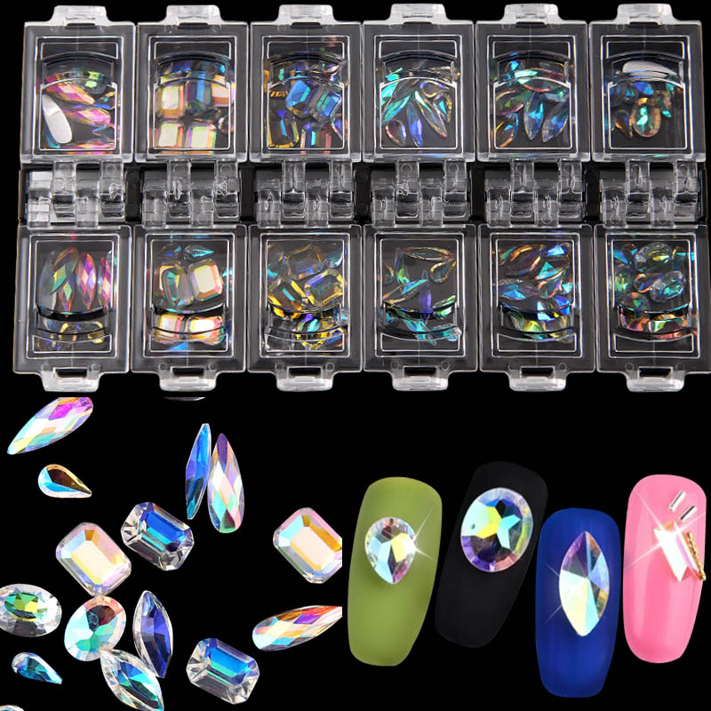 12Box 3D Rhinestones Decorations Nail Art Colorful Clear Crystal Mixed Size Lady Nails Tips Decals With Storage Box Container FM 1 pack mixed size crystal ab colorful nail art rhinestones flat back 3d glass nail glitter decorations diy manicure accessories