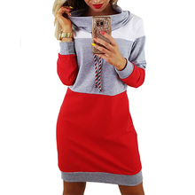 Women Winter Turtleneck Long Sleeve Hooded Plus Size 2018 Autumn Striped Colorful Hoodie Dress Sweatshirt Dress GV009