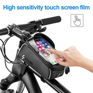 Image 2 - Bike Bicycle Waterproof Cell Phone Bag Holder MTB Front Frame Tube Bag Case 6.0 inch Rainproof Saddle Bag Bicycle Accessories