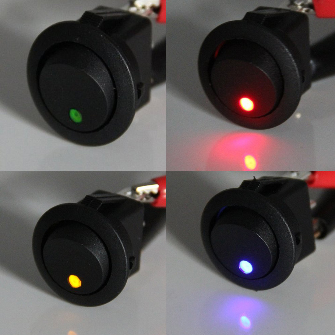 Marsnaska 12v Led Dot Light Car Boat Round Rocker On Off Spst Switch 12 Volt Illuminated Wiring 4 Colors 4pcs In Switches Relays From Automobiles Motorcycles