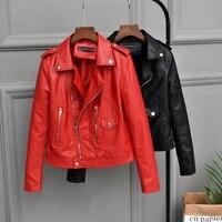 2019 Autumn New Female Jacket Faux Soft Leather Coat Women Red/Black/Brown Short Korean PU Outwear Lady Slim Motorcycle Jacket