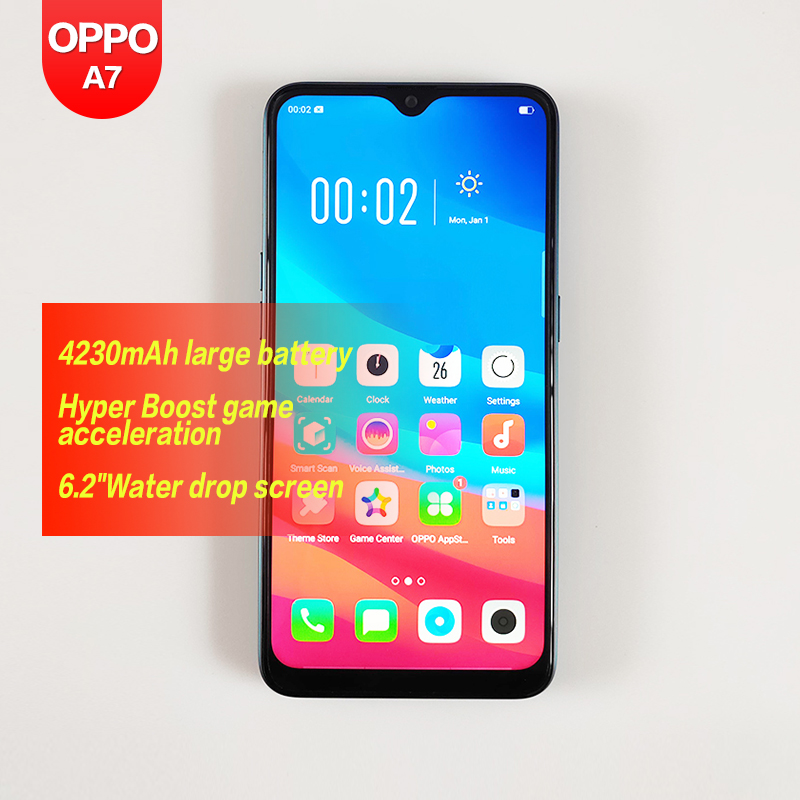 OPPO A7 Original Global ROM 6.2 inch Smart phone 1520*720 Android SDM450B Octa Core 1080P 13MP+2MP Front & Back cameras