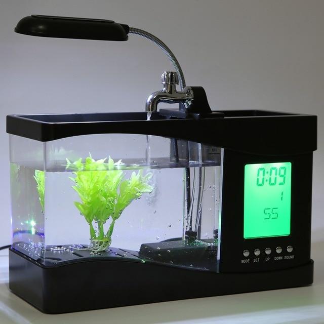 1.5L USB Desktop Mini Fish Tank Aquarium LCD Timer Alarm Clock LED Lamp Light Black recirculation Temperature Calendar