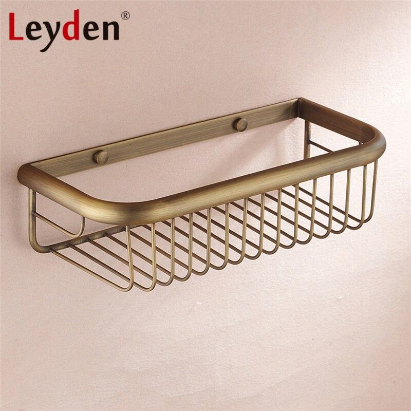 Leyden Luxury Wall Mounted Shower Caddy Shelf Basket Antique Brass ...