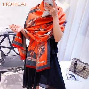 Image 3 - ラグジュアリーブランドオレンジキャリッジチェーンプリントカシミヤスカーフの女性のスカーフの女性の首のファッションショールラップ暖かい冬 hijabblanket