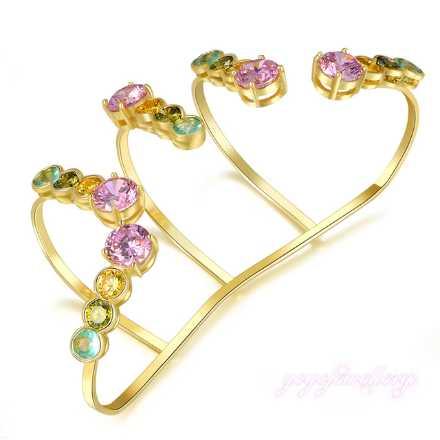 Mytys Multi Color Prong Setting Crystal Hand Palm Cuff Jewelry handlet R220