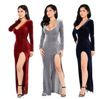 Long Dress Plus Size S 2XL Women Winter Dresses Long Sleeve V Neck Maxi Dress Velour