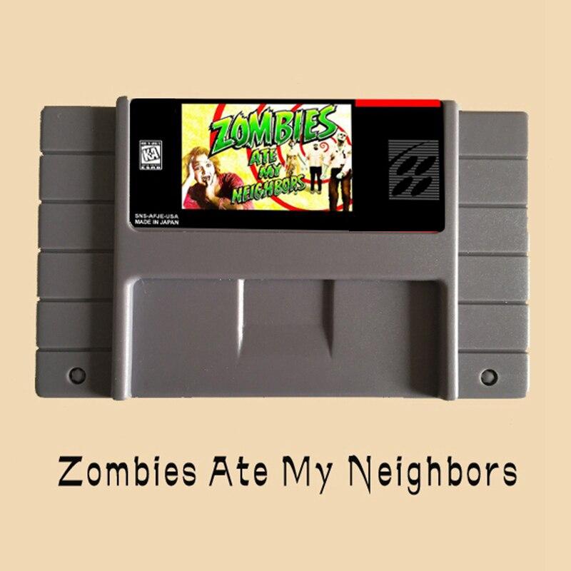 Zombies Ate My Neighbors USA versión 16 poco grande gris tarjeta de juego para NTSC Game Player