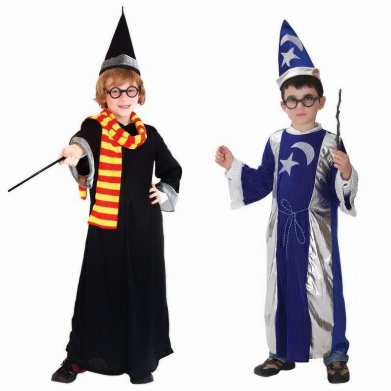 New Magician clothing Moonstar Wizard shamans clothes for children Fancy dress Kids Halloween costume party performing
