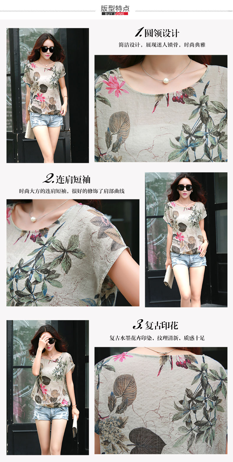 HTB1xk 0LVXXXXXfXVXXq6xXFXXXs - Floral Print Blouse Cotton Linen Women Shirts Summer Ladies Tops
