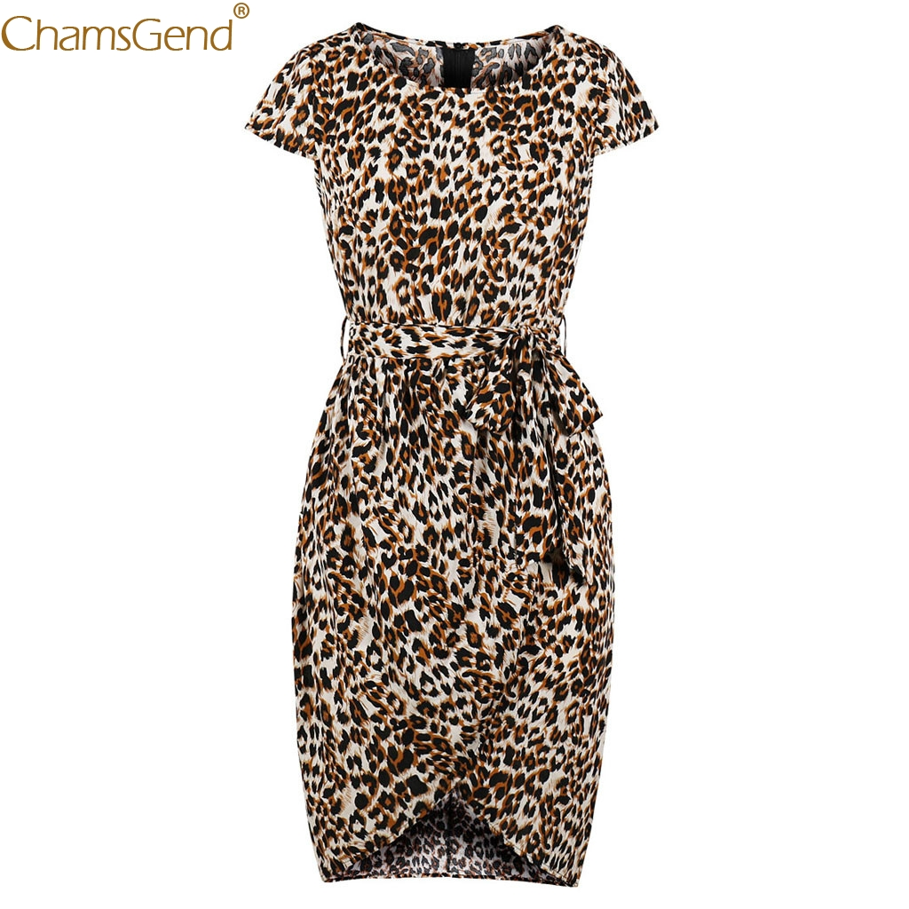 Hot Sale Women Short Sleeve Leopard Print dresses woman party night Fashion girl Pencil Dress Party  high quality materials Jun7