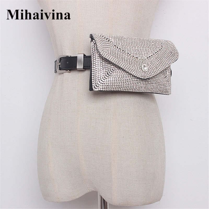 Mihaivina Women Waist Bag Diamonds Waist Packs Detachable Belts Fanny Pack Fashion Female Belt Bag Hand-free Bags Dropshipping цена