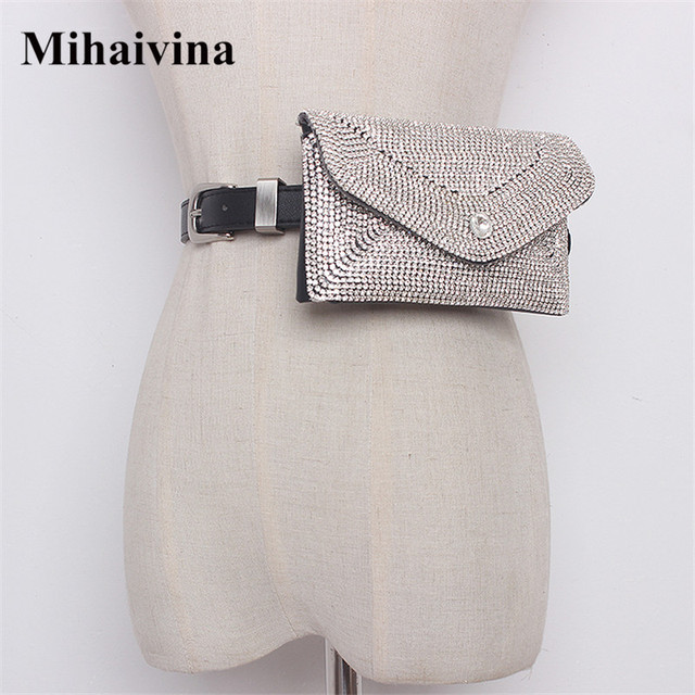 Mihaivina Women Waist Bag Diamonds Waist Packs Detachable Belts Fanny Pack Fashion Female Belt Bag Hand-free Bags Dropshipping