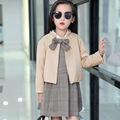 2017 Brand kids clothes Baby Girls big bow Coats Jackets+Plaid dress 2PCS Sets girls clothes Suit Clothing Teenager Costumn 5-11