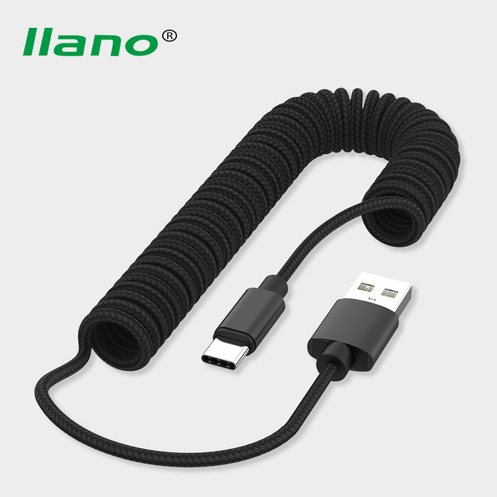 Micro USB Type C <font><b>8</b></font> <font><b>Pin</b></font> <font><b>Cable</b></font> Retractable Spring <font><b>Cable</b></font> For <font><b>iPhone</b></font> X Samsung S9 Fast Charging Charger Data <font><b>Cable</b></font> Wire Cord Adapter image