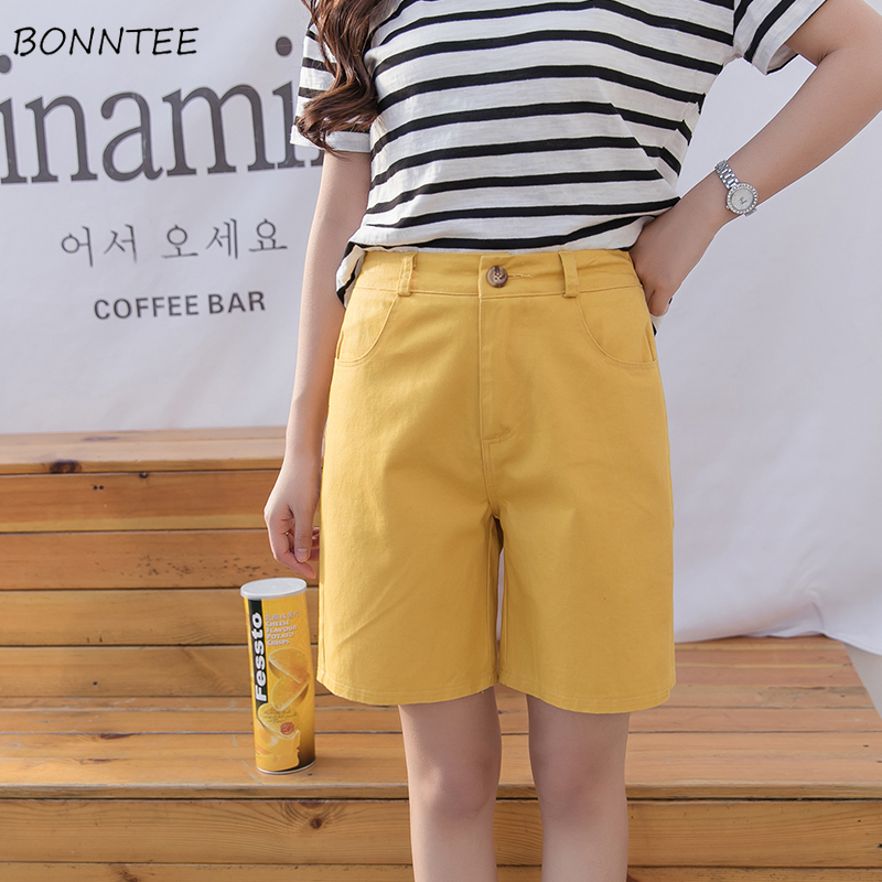 Shorts Women Leisure Trendy Korean Style Loose High Quality All-match Womens Straight Simple Comfortable Single Button Harajuku