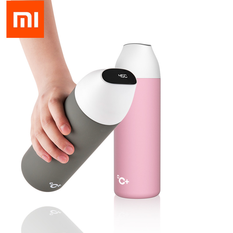 Original Xiaomi mijia kiss kiss fish smart Vacuum insulation bottle with 3 filter OLED Temperature Screen smart Sensor CC+ Cup xiaomi kiss kiss fish slim smart cup 430ml oled temperature screen protable stainless steel cup with leather rope mug option