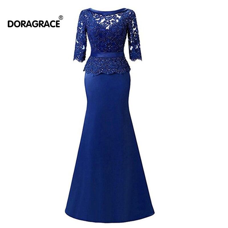 Doragrace élégant 3/4 manches sirène robes de soirée en dentelle perlée mère de la mariée robes de grande taille
