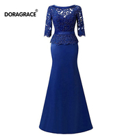 Doragrace Elegant 3/4 Sleeve Mermaid Evening Dresses Beaded Lace Mother of the Bride Dresses Plus Size